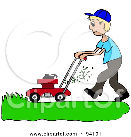 royalty free rf clipart illustration of a blond caucasian boy rh clipartof com lawn mowing clip art free lawn mowing clipart free