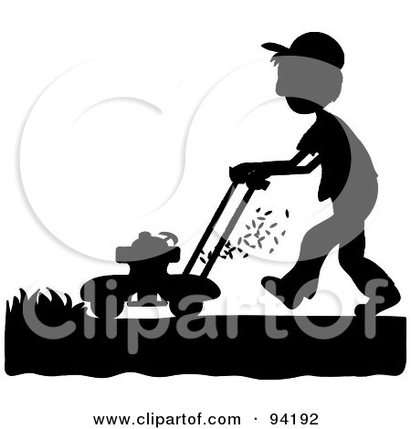 Royalty-Free (RF) Clipart Illustration of a Silhouetted Boy Mowing A Lawn With A Mower by Pams Clipart