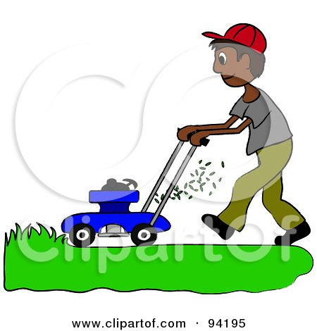 Royalty-Free (RF) Clipart Illustration of a Hispanic Boy Mowing A Lawn With A Mower by Pams Clipart