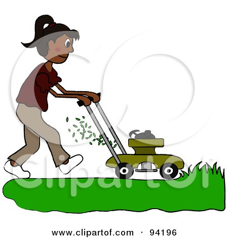 Royalty-Free (RF) Clipart Illustration of a Hispanic Girl Mowing A Lawn With A Mower by Pams Clipart