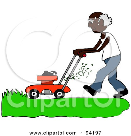 Royalty-Free (RF) Clipart Illustration of a Senior African American Man Mowing A Lawn With A Mower by Pams Clipart