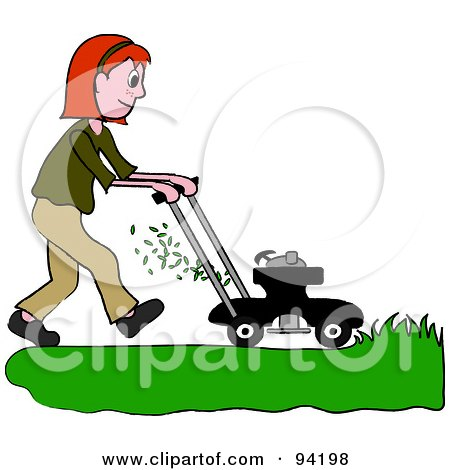 Royalty-Free (RF) Clipart Illustration of a Red Haired Girl Mowing A Lawn With A Mower by Pams Clipart