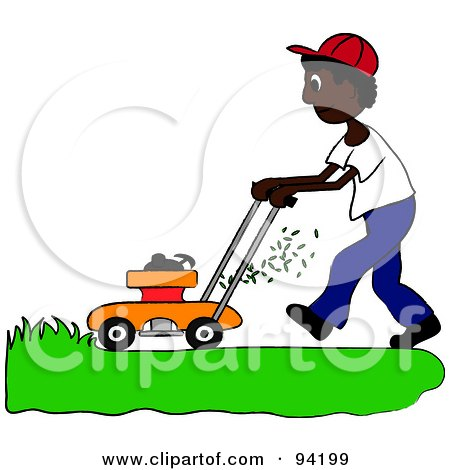 Royalty-Free (RF) Clipart Illustration of an African American Boy Mowing A Lawn With A Mower by Pams Clipart