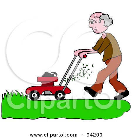 Royalty-Free (RF) Clipart Illustration of a Senior Caucasian Man Mowing A Lawn With A Mower by Pams Clipart