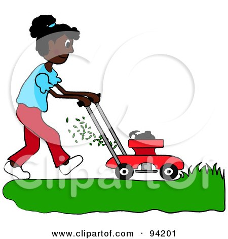 Royalty-Free (RF) Clipart Illustration of an African American Girl Mowing A Lawn With A Mower by Pams Clipart