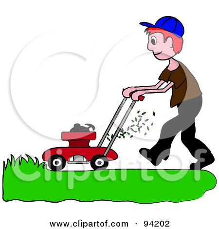 Royalty-Free (RF) Clipart Illustration of a Red Haired Caucasian Boy Mowing A Lawn With A Mower by Pams Clipart