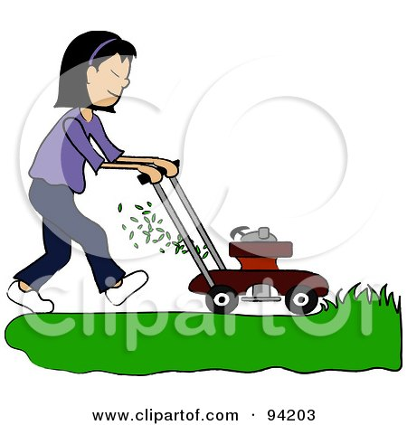 Royalty-Free (RF) Clipart Illustration of an Asian Girl Mowing A Lawn With A Mower by Pams Clipart