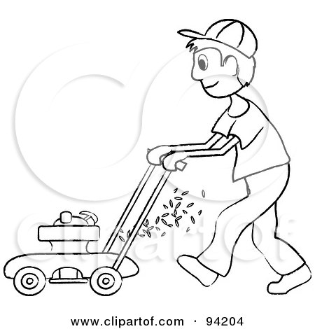 Royalty-Free (RF) Clipart Illustration of an Outlined Boy Mowing A Lawn With A Mower by Pams Clipart