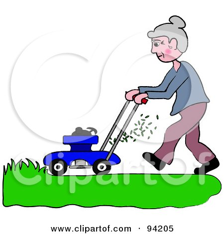 Royalty-Free (RF) Clipart Illustration of a Senior Woman Mowing A Lawn With A Mower by Pams Clipart
