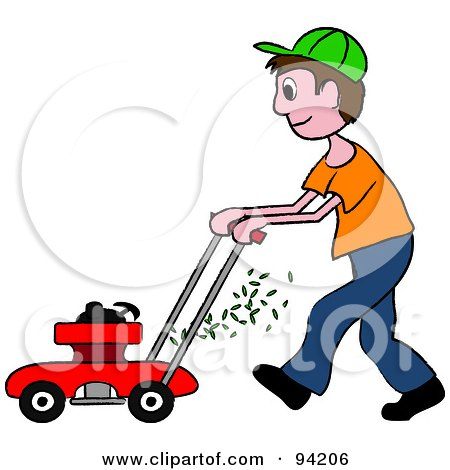 Royalty-Free (RF) Clipart Illustration of a Brunette Caucasian Boy Pushing A Lawn Mower by Pams Clipart