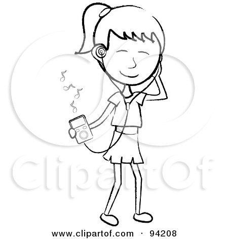 Royalty-Free (RF) Clipart Illustration of a Happy Outlined Stick Girl Listening To Tunes With A Music Player by Pams Clipart