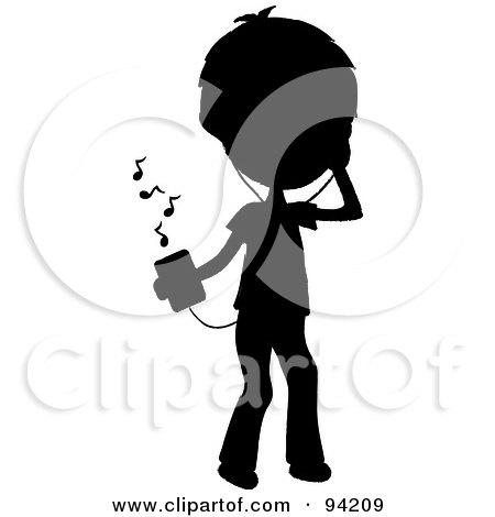 Royalty-Free (RF) Clipart Illustration of a Silhouetted Stick Boy Listening To Tunes With A Music Player by Pams Clipart
