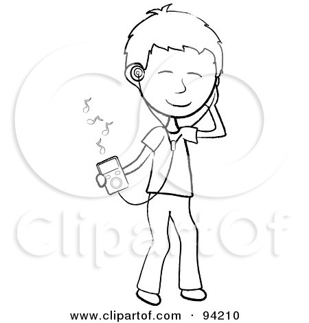 Royalty-Free (RF) Clipart Illustration of a Happy Outlined Stick Boy Listening To Tunes With A Music Player by Pams Clipart