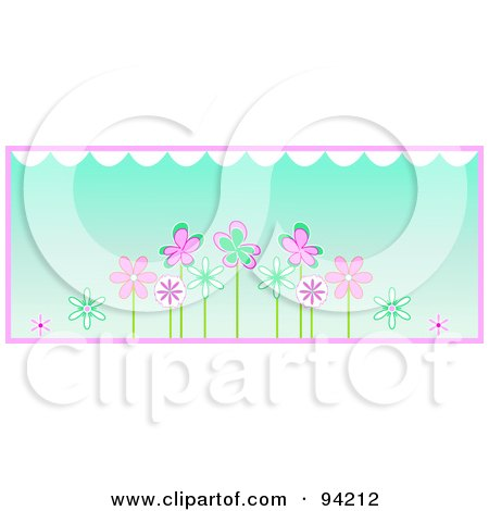 Royalty-Free (RF) Clipart Illustration of a Row Of Pink And Turquoise Spring Flowers Under White Scallops, Over Blue With Pink Trim by Pams Clipart