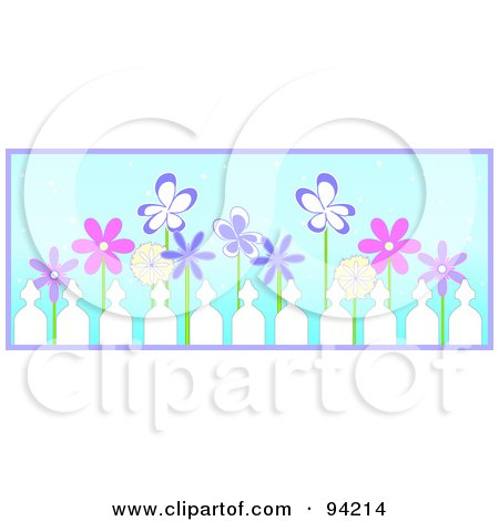 Royalty-Free (RF) Clipart Illustration of a Row Of Pink And Purple Spring Flowers Behind A Picket Fence, Over Blue With Purple Trim by Pams Clipart