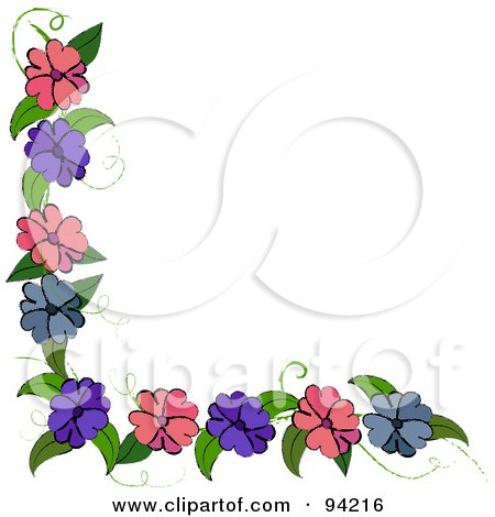 Royalty-Free (RF) Clipart Illustration of a Corner Border Of Purple, Blue And Pink Flowers On A Vine by Pams Clipart