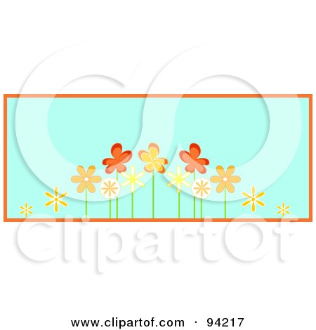 Royalty-Free (RF) Clipart Illustration of a Row Of Orange Spring Flowers, Over Blue With Orange Trim by Pams Clipart