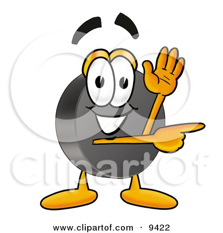 Clipart Picture of a Hockey Puck Mascot Cartoon Character Waving and Pointing by Toons4Biz