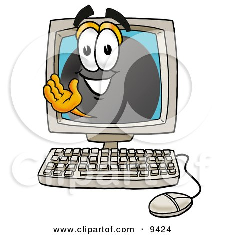 Clipart Picture of a Hockey Puck Mascot Cartoon Character Waving From Inside a Computer Screen by Toons4Biz