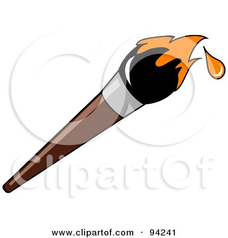 Royalty-Free (RF) Clipart Illustration of a Wooden Artist's Paintbrush With Orange Dripping Paint On The Tip by Pams Clipart