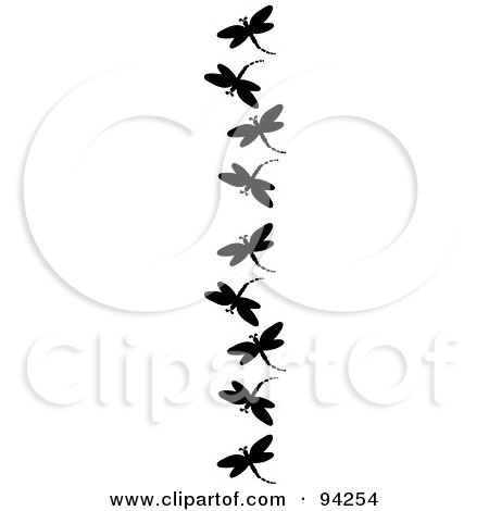 Royalty-Free (RF) Clipart Illustration of a Vertical Border Of Black Silhouetted Dragonflies by Pams Clipart