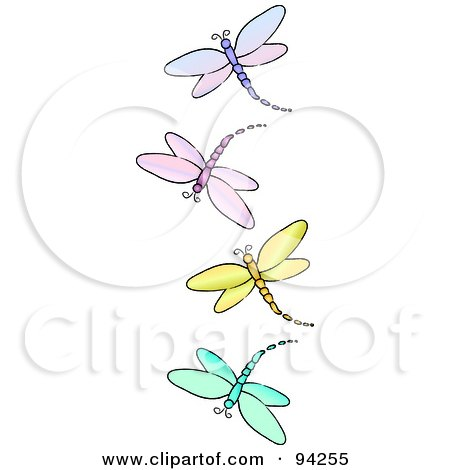 Royalty-Free (RF) Clipart Illustration of a Vertical Border Of Purple, Pink, Yellow And Blue Dragonflies by Pams Clipart