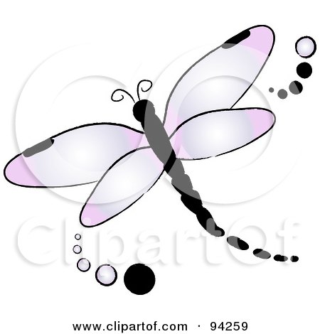 Royalty-Free (RF) Clipart Illustration of a Purple Flying Dragonfly Logo With Dots by Pams Clipart
