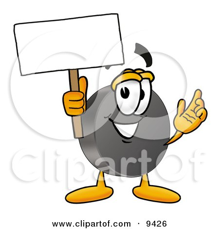 Clipart Picture of a Hockey Puck Mascot Cartoon Character Holding a Blank Sign by Toons4Biz
