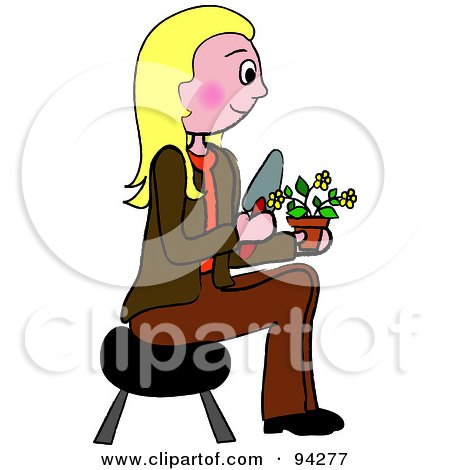 Royalty-Free (RF) Clipart Illustration of a Pleasant Caucasian Woman Sitting On A Stool And Gardening by Pams Clipart