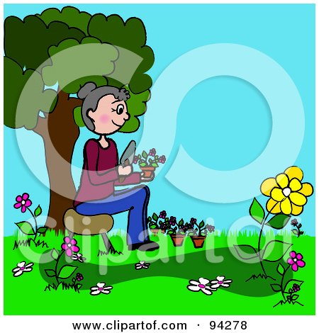 Royalty-Free (RF) Clipart Illustration of a Senior Caucasian Woman Planting Flowers In Her Yard by Pams Clipart
