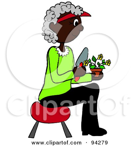 Royalty-Free (RF) Clipart Illustration of a Senior African American Woman Sitting On A Stool And Gardening by Pams Clipart