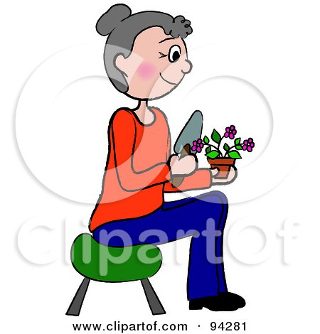 Royalty-Free (RF) Clipart Illustration of a Senior Caucasian Woman Sitting On A Stool And Gardening by Pams Clipart
