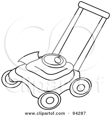 Royalty-Free (RF) Clipart Illustration of an Outlined Lawn Mower by Pams Clipart
