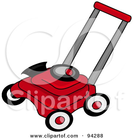 Royalty-Free (RF) Clipart Illustration of a Red And Black Lawn Mower by Pams Clipart