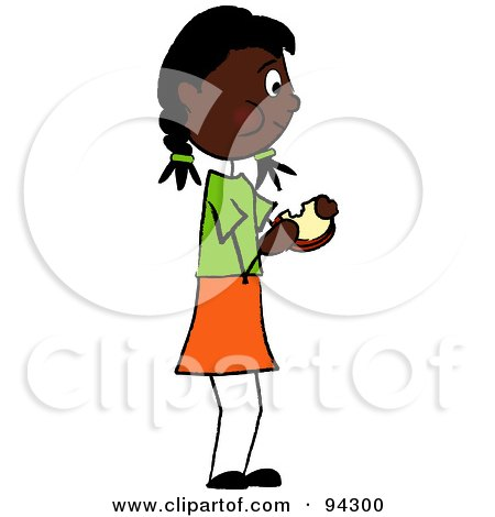Royalty-Free (RF) Clipart Illustration of an African American Girl Standing And Eating A Sandwich by Pams Clipart