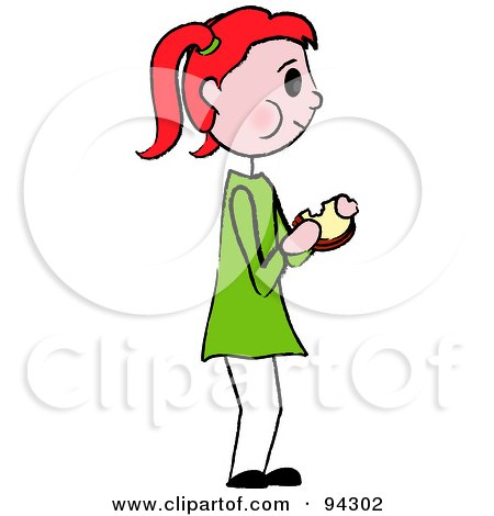 Royalty-Free (RF) Clipart Illustration of a Red Haired Caucasian Girl Standing And Eating A Sandwich by Pams Clipart
