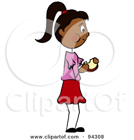 Royalty-Free (RF) Clipart Illustration of a Hispanic Girl Standing And Eating A Sandwich by Pams Clipart