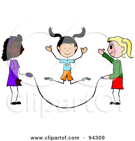Royalty-Free (RF) Clipart Illustration of Three Diverse Stick Girls Jumping Rope by Pams Clipart