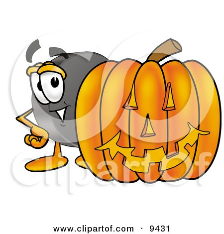 Clipart Picture of a Hockey Puck Mascot Cartoon Character With a Carved Halloween Pumpkin by Toons4Biz