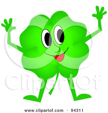 Royalty-Free (RF) Clipart Illustration of a Happy Green Clover Guy Holding Up His Arms by Pams Clipart