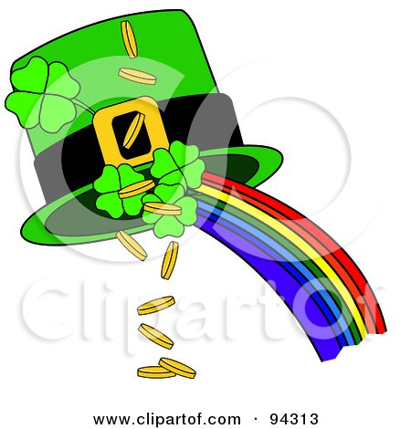 Royalty-Free (RF) Clipart Illustration of a Green St Patricks Day Hat With A Rainbow, Shamrocks And Gold Coins by Pams Clipart