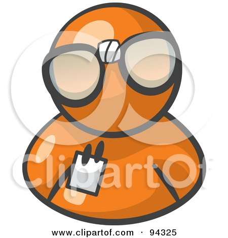 Royalty-Free (RF) Clipart Illustration of an Orange Man Wearing Large Nerdy Glasses by Leo Blanchette