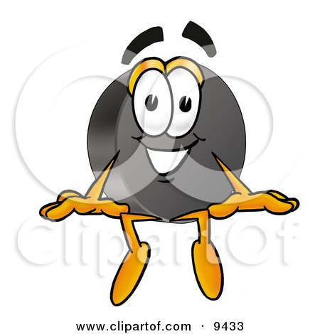 Clipart Picture of a Hockey Puck Mascot Cartoon Character Sitting by Toons4Biz