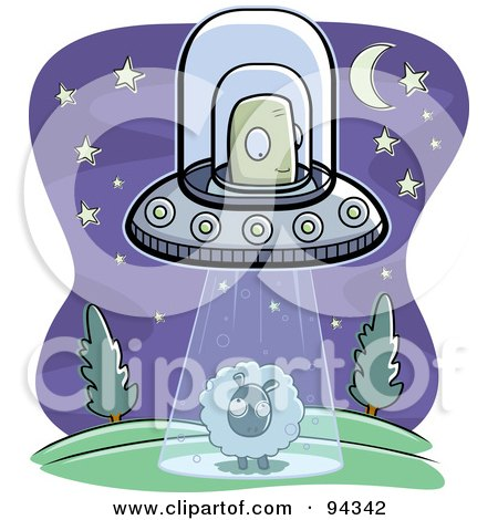 Royalty-Free (RF) Clipart Illustration of an Alien Abducting A Sheep In The Middle Of The Night by Cory Thoman