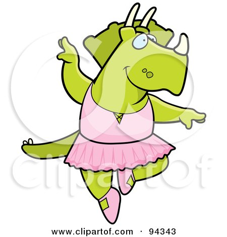 Royalty-Free (RF) Clipart Illustration of a Triceratops Character Ballerina by Cory Thoman