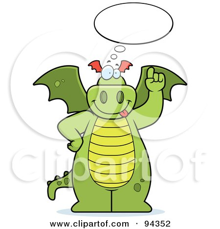 Royalty-Free (RF) Clipart Illustration of a Big Green Dragon With A Thought Bubble by Cory Thoman