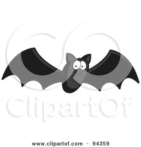 Royalty-Free (RF) Clipart Illustration of a Flying Black Bat by Cory Thoman