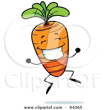 Royalty-Free (RF) Clipart Illustration of a Happy Carrot Face Jumping by Cory Thoman