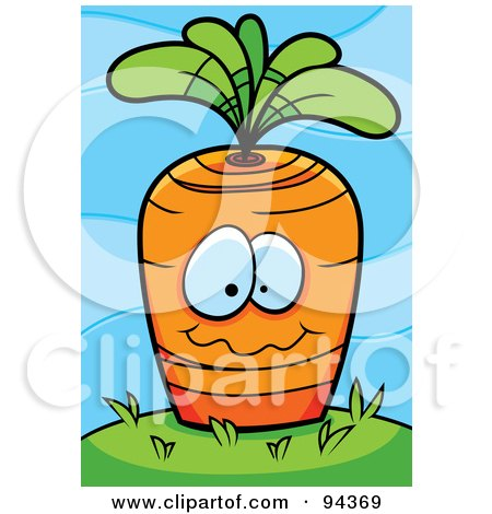 Royalty-Free (RF) Clipart Illustration of a Carrot Face Planted In The Ground by Cory Thoman
