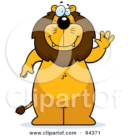 Royalty-Free (RF) Clipart Illustration of a Big Lion Standing And Waving by Cory Thoman